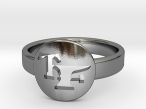 TF Logo Ring Size 6  in Polished Silver