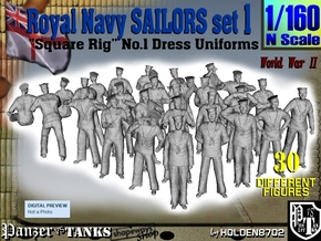 1-160 Royal Navy Sailors Set1 in Smoothest Fine Detail Plastic