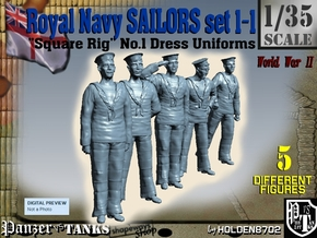 1-35 Royal Navy Sailors Set1-1 in Smooth Fine Detail Plastic