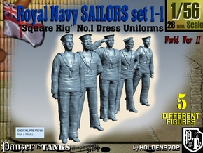 1-56 Royal Navy Sailors Set1-1 in Smooth Fine Detail Plastic