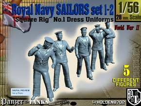 1-56 Royal Navy Sailors Set1-2 in Smooth Fine Detail Plastic