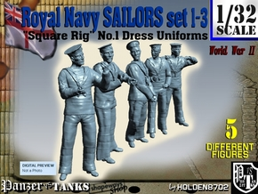 1-32 Royal Navy Sailors Set1-3 in Smooth Fine Detail Plastic
