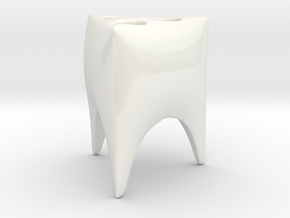 Toothy Triangle toothbrush holder in Gloss White Porcelain