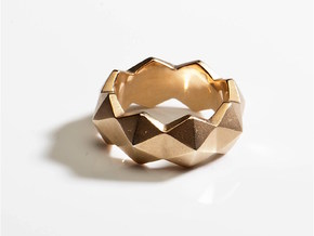 hexagon stud ring in 18k Gold Plated Brass