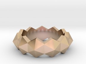 hexagon stud ring in 14k Rose Gold Plated Brass