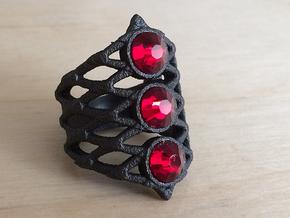BlakOpal Lace Goth Ring Size 8.5 in Matte Black Steel