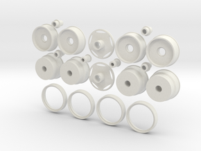 1:16 5-spoke wheels for Monogram Peterbilt & Kenwo in White Natural Versatile Plastic