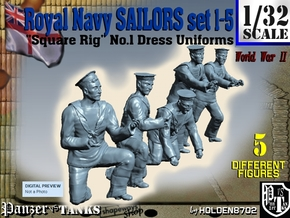 1-32 Royal Navy Sailors Set1-5 in Smooth Fine Detail Plastic