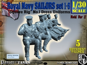 1-30 Royal Navy Sailors Set1-6 in White Natural Versatile Plastic