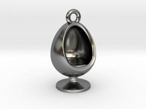 60s Inspired Series- Egg Chair Charm in Polished Silver