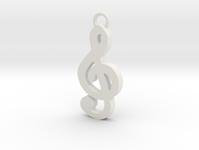Music Pendant - Treble Clef  in White Natural Versatile Plastic