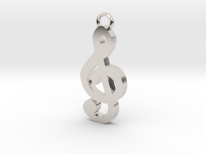 Music Pendant - Treble Clef  in Rhodium Plated Brass