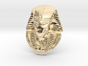 "Alien Gray Egyptian Pharaoh Head Pendant 1.5"" 38mm in 14k Gold Plated"