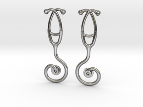 Stethoscope Spiral Earring in Polished Silver
