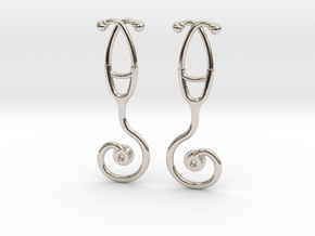 Stethoscope Spiral Earring in Rhodium Plated Brass