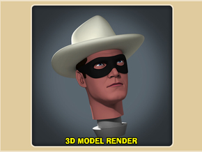 1:9 Scale Lone Ranger Head in White Processed Versatile Plastic