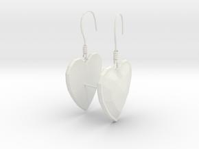 Hearts Earrings in White Natural Versatile Plastic