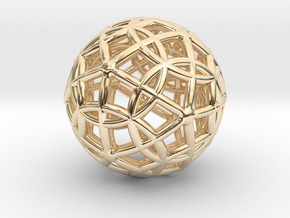 "Spherical Icosahedron with Dodecasphere 1"" in 14k Gold Plated Brass"
