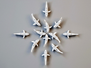 """wall decoration """" 6 Sharks"""" in White Natural Versatile Plastic"""