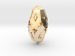 Amonkhet D10 gaming die - Large, hollow in 14k Gold Plated Brass