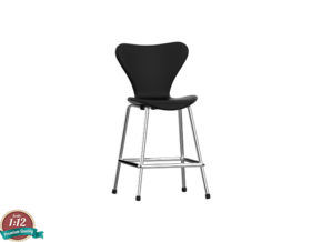 Miniature 7 Series 3197 Chair - Barstool in White Natural Versatile Plastic