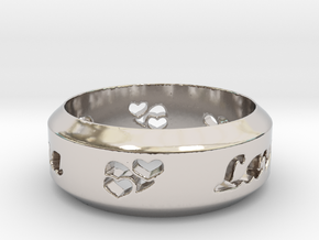 Anniversary Ring with Triple Hearts - May 7, 1990 in Rhodium Plated Brass: 12 / 66.5