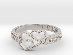 Anniversary Ring with Triple Heart - May 7, 1990 in Rhodium Plated Brass: 12 / 66.5