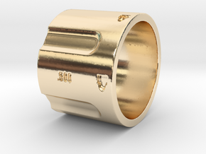 500 5-Shot Revolver Cylinder, Ring Size 12 in 14K Yellow Gold