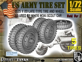 1-72 8-25x20 Late Tire White Scout Car Set2 in Smoothest Fine Detail Plastic