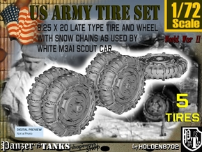 1-72 8-25x20 Late Tire Snow Chain White Scout Car  in Smoothest Fine Detail Plastic