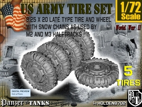 1-72 8-25x20 Late Tire Snow Chain Halftrack Set4 in Smoothest Fine Detail Plastic