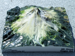 "Mt. Hood Map - 5"" in Glossy Full Color Sandstone"
