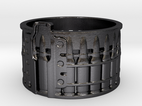 AK-47 75 rnd. Drum, Ring Size 10 in Polished and Bronzed Black Steel