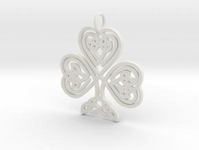 Celtic Shamrock Pendant Elegant Irish Charm in White Natural Versatile Plastic