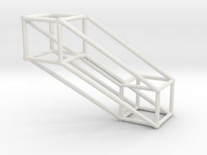 Small 4D Hypercube in White Natural Versatile Plastic