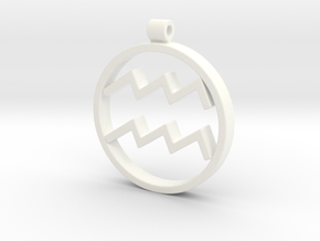 Aquarius Zodiac Sign Pendant in White Processed Versatile Plastic