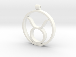 Taurus Zodiac Sign Pendant in White Strong & Flexible Polished