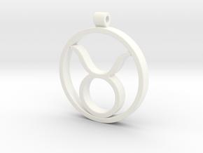 Taurus Zodiac Sign Pendant in White Processed Versatile Plastic