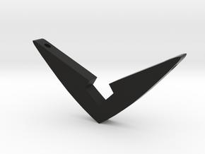 V Pendant Medium (1.5 inch) in Black Natural Versatile Plastic: Medium