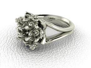 Flower ring NO STONES SUPPLIED in 14k White Gold