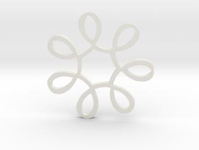 Looped Circle Pendant in White Natural Versatile Plastic