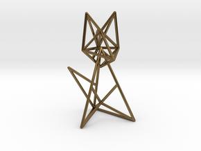 Wireframe fox in Polished Bronze (Interlocking Parts)