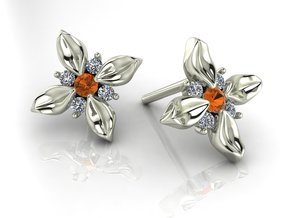 Flower stud earrings NO STONES SUPPLIED in Fine Detail Polished Silver