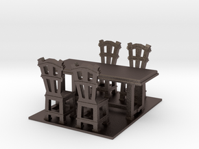 Dinner table and chairs 1.12 in Polished Bronzed Silver Steel