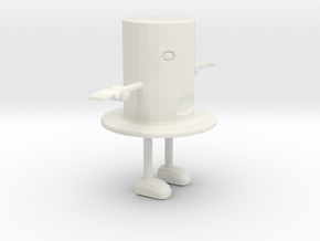 Cartoon Top Hat Character in White Natural Versatile Plastic: Small