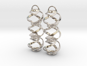 Swirl 3 - Pair of earrings in cast metal in Rhodium Plated Brass