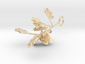 Shamrock Branch Pendant in 14K Yellow Gold