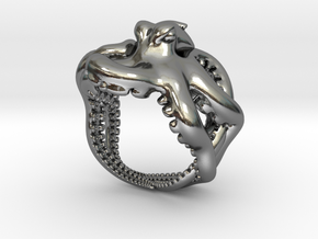 Octopus Ring2 15mm in Polished Silver