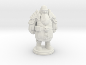 Tabletop Game Resting Dwarf Warrior 28mm in White Natural Versatile Plastic