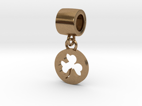 Pandora Style Clover Charm in Natural Brass (Interlocking Parts)